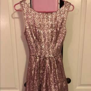 Pink sequin dress with tulle underskirt